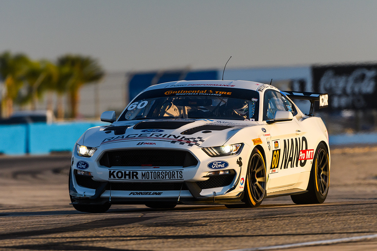 Ford Mustang Gt4 Powers To Sebring Pole Checkered Flag Roush