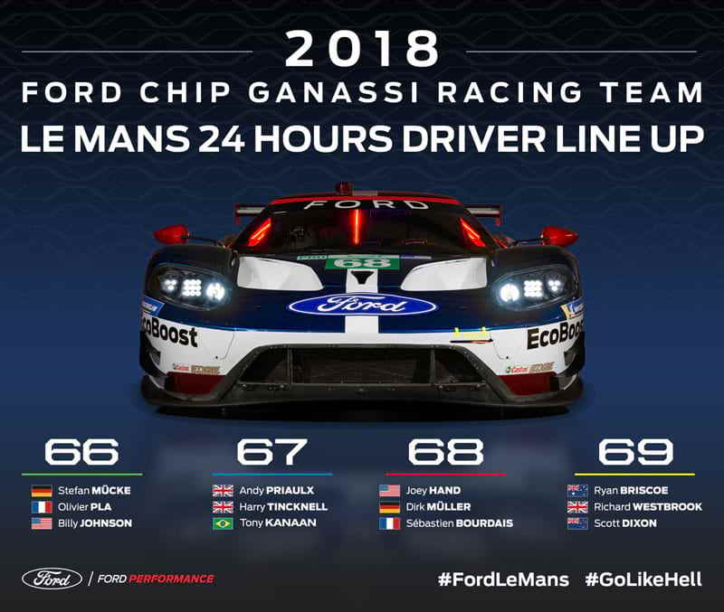 Ford Driver Lineup For The 24 Hours Of Le Mans Announced